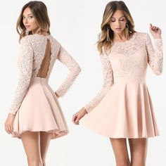 Lace Backless Flared Dress