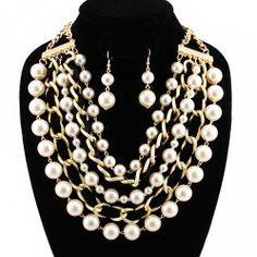 Woven Chain Pearl Necklace Set Visit http://www.handbagloverusa.com