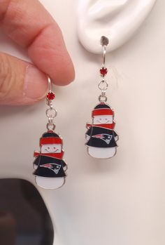 New England Patriots Earrings, NE Patriots Snowman Charm Red Crystal Earrings, Pro Football Patriots Jewelry Bling Accessory Fanwear by scbeachbling on Etsy