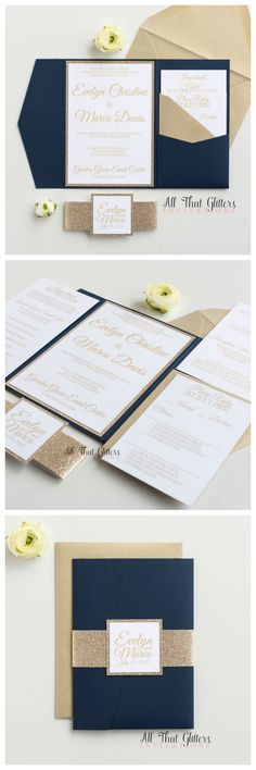Navy and gold wedding invitations are THE TOP trend for 2017 wedding inspiration! We paired our Gold Leaf Champagne glitter with our navy pocketfolds and gold leaf envelopes to create the stunning Evelyn suite. Glitter Wedding Invitations, Gold Wedding Invitations, Rustic Invitations, Wedding Stationary, Invitation Cards, Wedding Cards, Diy Wedding, 2017 Wedding, Trendy Wedding