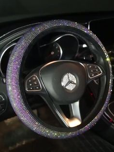 Istn Car Steering Wheel Cover Shining Snowflake 4 Colors Anti-Slip Cute For 15inch Women Gold