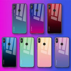 Gradient Tempered Glass Case For Xiaomi Redmi Note 7 5 6 Pro Pocophone Mi Lite SE Cover Protective Fundas T Mobile Phones, Mobile Phone Cases, Phone Covers, Apple Iphone, Smartphone, Gadgets, Cheap Phone Cases, Note 7, Gradient Color
