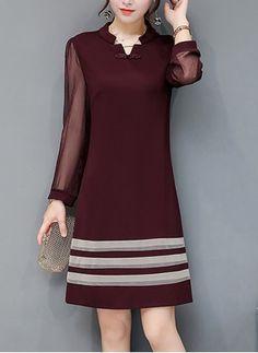 Split Neck See-Through Color Block Striped Shift Dress Long Tight Prom Dresses, Trendy Dresses, Elegant Dresses, Cute Dresses, Casual Dresses, Fashion Dresses, Short Sleeve Dresses, Simple Pakistani Dresses, Simple Gowns