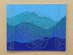 Mehndi Inspired Glitter Mandala with Floral Border by GonzSquared #henna #mehndi #mixedmedia #hennapainting #mehndipainting #hennadesign #mehndidesign