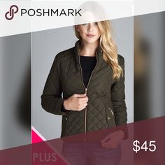 "PLUS-Olive Bomber Jacket 💕💕Quilted Padding with piping details. 100% Polyester. Measurements 1X 45"" B, 24""; 2X 46"" B, 24.5 L; 3X 47"" B, L 25"".  100% Polyester. Also available in Olive  and Navy. 💕💕 Jackets & Coats"