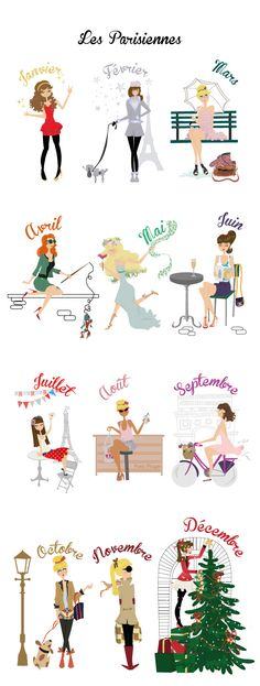 Les Parisiennes. Not a very diverse representation, but a good way to remember the months just the same.
