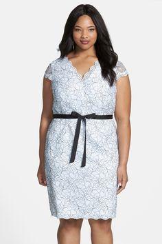V-Neck Lace Sheath Dress (Plus Size) by Calvin Klein on @nordstrom_rack