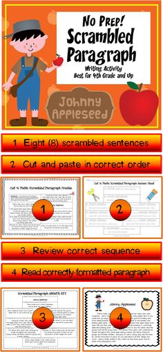 JOHNNY APPLESEED SCRAMBLED PARAGRAPH~  This no-prep activity packet contains an 8-sentence scrambled paragraph about Johnny Appleseed. The paragraph can be put together only one way. Students use transitions and inferential clues to assemble this organized, logical paragraph. Great bridging activity that helps students develop their own writing skills.  Ready-to-use printables. Just copy and go! $