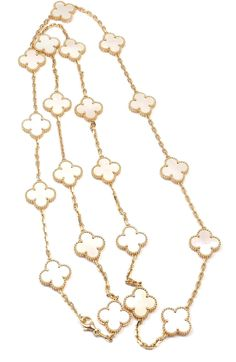 VAN CLEEF & ARPELS Vintage Alhambra Mother Of Pearl Gold Necklace, 1999. 18k Yellow Gold Alhambra 20 Motifs Coral Necklace by Van Cleef & Arpels.   With 20 motifs of mother of pearl Alhambra stones 15mm each (hva)