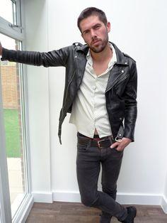 Men's black leather jacket biker jacket slim fit by BLACKoVANILLA