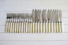 Bakelite Cutlery, Vintage Flatware Set of 24, Soviet Vintage Forks Knives Set…