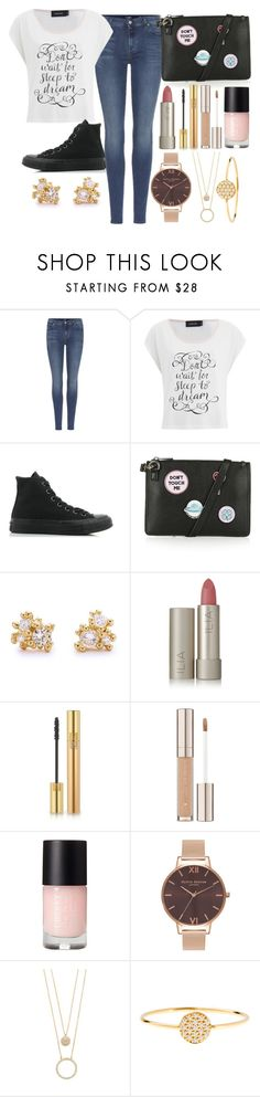 """""""#280"""" by nattiexo ❤ liked on Polyvore featuring 7 For All Mankind, MINKPINK, Converse, Topshop, Ruth Tomlinson, Ilia, Yves Saint Laurent, Olivia Burton, Kate Spade and AND"""