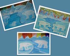 Tekenmaar: Noordpool met ijsberen en noorderlicht. Groep 4 t/m 6. Een hele uitdaging: hoe kleur je ijs en sneeuw zonder een geheel witte tekening te krijgen?