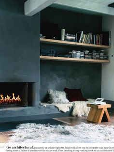 Fireplace, built-in's, wall color