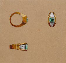 An emerald and diamond ring by Lorenzo Homar for Cartier, 1940's