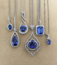 Some gorgeous tanzanite necklaces designed by Skatell's   see more on instagram @SkatellsCharlotte