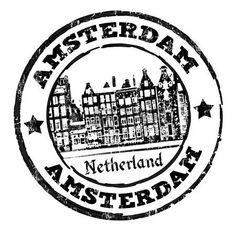 holland stamp: Negro grunge sello de goma con casas antiguas y la palabra Ámsterdam escrito en su interior, ilustración
