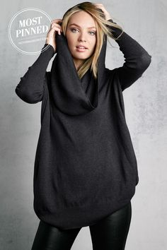 A kiss of cashmere adds a luxurious touch to our Multi-way Tunic Sweater. l Multi-way Sweater. Looks comfy Moda Punk, Mein Style, Tunic Sweater, Hooded Sweater, Grey Sweater, Jumper, Cashmere Sweaters, Cozy Sweaters, Cashmere Hoodie
