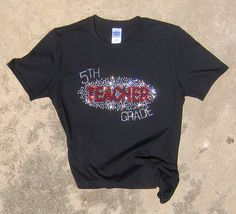 """Brilliant Black Shimmering Rhinestone """"Teacher"""" T-Shirt with Clear Crystal and Red High Quality Rhinestones and Optional Grade Level"""