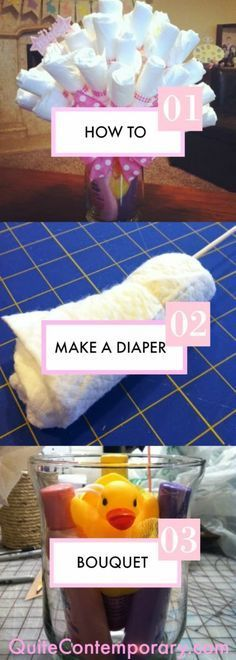 How to Make a Diaper Bouquet. Perfect baby shower gift and baby reveal gift.