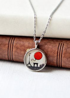 Le Ballon Rouge (the Red Balloon ) necklace -- Paris inspired pendant by Sarah-Lambert Cook { www.sarahlambertcook.etsy.com }