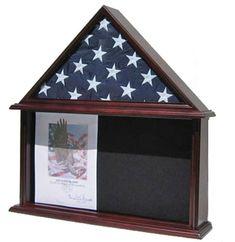 Military Memorial Shadow Box, Burial/Funeral Flag Display Case for 5' X 9.5' Flag (Mahogany) FC07-MA