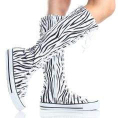 Canvas Sneakers Ladies Flat Tall Punk Womens Skate Shoes Lace up Knee High Boots (8, black/white zebra) DW, To BUY or SEE just CLICK on AMAZON right here http://www.amazon.com/dp/B00C7JB7WM/ref=cm_sw_r_pi_dp_3lHstb1TNTWQXZZ6