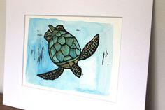 Green Sea Turtle original linocut print by Yoliprints on Etsy