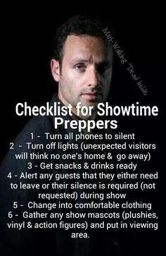 Walking Dead Showtime Checklist!!
