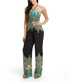 Another great find on #zulily! Teal & Black Damask Halter Jumpsuit - Women by indero #zulilyfinds