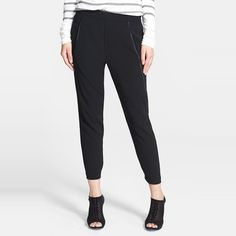 Rank & Style Top Ten Lists | Vince Satin-Piped Cropped Track Pants #rankandstyle #fallfashion #airportstyle #slouchy