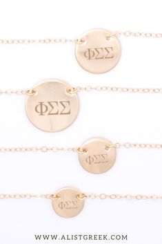 Shop this perfect Phi Sigma Sigma Greek letter necklace at www.alistgreek.com! Starting at just $30, available in 4 metal colors and 4 disc sizes. #circle #disc #necklace #sororitynecklace #customgift #personalized #handmade #custom #sororityjewelry #greekletters #sororityletters #loveyourletters #bidday #biglittle #phisig #phisigmasigma