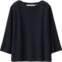 UNIQLO Women Lemaire Cashmere Blended Cropped Sweater (€79) ❤ liked on Polyvore featuring tops, sweaters, textured sweater, uniqlo sweaters, poncho style sweater, blue cropped sweater and cropped sweater