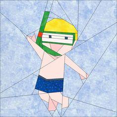 """Boy Swimming 10"""" (25cm) paper pieced block quiltartdesigns.blogspot.com"""