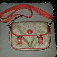 Authentic Coach Crossbody This is a coated fabric classic CC print. Coral, nude and tan mesh so well. The strap is adjustable and removable from one side. It is coral cloth and has gold hardware. There is a tiny tiny scuff on the center emblem... the inside is perfect... no stains, no holes, no signs of use. Two front pockets that are protected by the flap closure. Perfect cross body for concerts. I measured it 8in in length 6in in depth. Not included in bundle... Let's talk over an offer…
