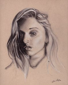 Female portrait on toned paper.
