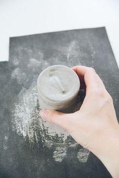 DIY Laced Cement Votive