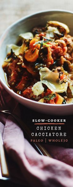This Slow-Cooker Chicken Cacciatore is hearty, delicious, and healthy to boot. It's Whole30 compliant, paleo, and gluten-free, too!