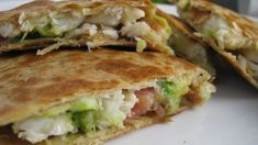 Crab Avocado Quesadillas ••• Ingredients: whole wheat tortillas, lump crab meat, fried and crumbled bacon, avocado, shallots, shredded mozzarella cheese, chopped pineapple ••• Get the recipe @ http://www.howsweeteats.com/2010/04/crab-avocado-quesadillas/