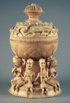 Africa | 16th century Sapi-Portuguese Saltcellar Lid from Sierra Leone | Carved Ivory | Made for a Portuguese market in the 15th and 16th centuries. Such items display a mixture of African and European elements and motifs in their overall form and ornamentation, and were considered prestige items across Europe.