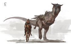 Fantasy Art: Dude and Horniboii by Raph Lomotan Character Inspiration, Character Art, Character Design, Historia Natural, Cool Monsters, Dinosaur Art, Prehistoric Creatures, Fantasy Armor, Creature Concept