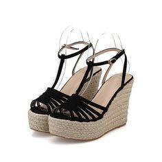 SheIn(sheinside) Black Platform T Strap Wedge Sandles (42 CAD) ❤ liked on Polyvore