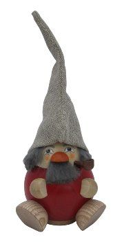 Forest Dwarf Smoker - Raspberry Red - Handmade German Figurines By Seiffener Volkskunst. Handmade Christmas