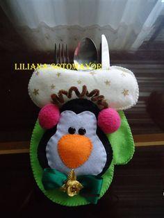 Eu Amo Artesanato: Porta talher de rena, boneco de neve, pinguim com molde