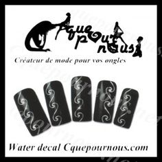 Stickers d'ongles Nail art Water decal Vagues swirls argent