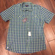 Men's shirt Men's short sleeve button down (green & blue) Cremieux Shirts Casual Button Down Shirts