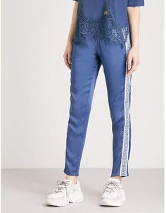 The Kooples Embroidered panel satin jogging bottoms