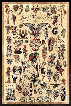 Il s'agit d'une affiche 24 x 36 d'une variété de Sailor Jerry Collins Tattoo Flash. C'est la troisième copie que j'ai fait mettant en vedette son flash tattoo. Encore une fois, j'ai fait cette impression de 3ème pour le même de mes amis qui possède un magasin de tatouage à