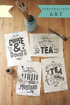 we go together hand-made type, hand lettering prints by Steph Baxter