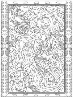 Creative Haven Peacock Designs Coloring Book, Dover Publications Peacock Coloring Pages, Bird Coloring Pages, Adult Coloring Pages, Coloring Books, Peacock Quilt, Peacock Art, Peacock Colors, Ornaments Design, Border Design